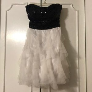 Black and white sequin and tulle overlay dress